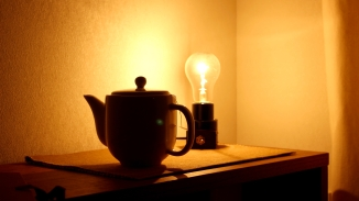 tea pot, lightbulb